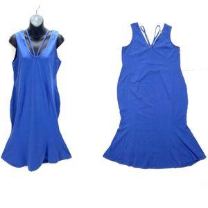 Asos Drop Waist Stretch Blue Fit & Flare Dress 12
